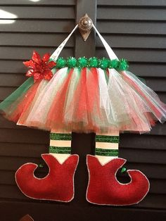 Elf Legs Burlap Door Hanger