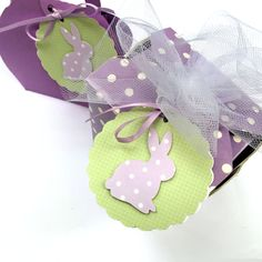 Gift wrapping idea, birthday party. Pastel Bunny Rabbit gift tags with polka dots. Lilac purple and green. Easter decorations, gifts, baby shower favors by MyPaperPlanet