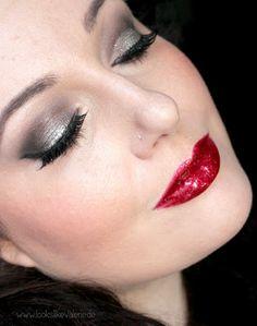Ruby Red Glitter Lips