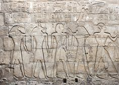 Luxor Temple: Court of Ramesses II | Southeastern corner of the Wall in the Colonnade of Ramesses II; Ramesses II led by different deities.