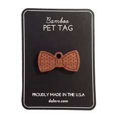 Wood Pet Tag - Dog tag Bowtie Polka Dots #dogtag