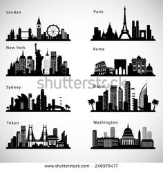 Find City Skyline Set Vector Silhouettes stock images in HD and millions of other royalty-free stock photos, illustrations and vectors in the Shutterstock collection. Cityscape Drawing, Skyline Painting, City Drawing, Skyline Art, Skyline Design, Chicago Skyline, City Tattoo, Skyline Silhouette, Silhouette Vector