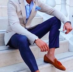 Blue pants and khaki blazer