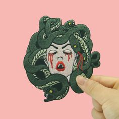Excited to share this item from my shop: patch Embroidered iron on patches pack The Bleeding Medusa eco-friendly large patches for jackets patch Vintage Embroidery, Beaded Embroidery, Machine Embroidery, Pin And Patches, Iron On Patches, Cute Pins, Couture, Painted Rocks, Handmade Items