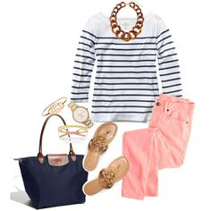 This would a cute preppy outfit with a bow or headband