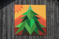 sun, tree, pine, evergreen, christmas, yellows, reds, greens, oranges, barn