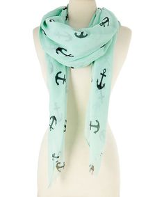 Nautical love -Mint Anchor Scarf