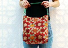 Chic Utilitarian Handbag in Mod Geometric Floral Pattern. Stain-resistant NanoTex Finish. Handmade by  textilecouture, $79.00