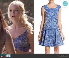 Caroline's blue floral print dress on The Vampire Diaries.  Outfit Details: http://wornontv.net/48755/ #TheVampireDiaries