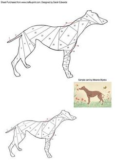 Greyhound Dog Iris Folding Pattern on Craftsuprint designed by Sarah Edwards - An iris folding pattern of a greyhound dog. The pattern comes in two sizes to suit your crafting projects. - Now available for download!