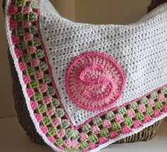 Personalized  Baby Blanket Granny Border. $70.00, via Etsy.