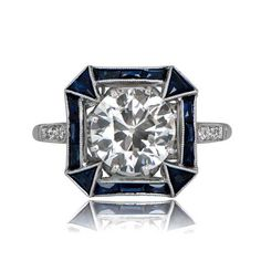 2.01ct Art Deco Style Engagement Ring Old European Cut