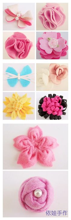 DIY〗 〖non-woven roses beautiful roses and leaves . _ from totogirl the photo sharing - heap sugar Diy Ribbon, Fabric Ribbon, Felt Fabric, Fabric Dolls, Felt Diy, Felt Crafts, Fabric Crafts, Felt Flowers, Diy Flowers