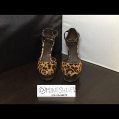 DVF Half-calf Leopard Mary Jane 7 out of 10 Condition. Wooded heel/platform. Minor shed of hair in some areas. Back of Heel intact, Buckle not worn. Not Original Box. Authentic.  Fast Shipping. ❤️Thanks for viewing my closet beauties ❤️ Will warmly provide up close or additional photos upon request ☺️ Diane von Furstenberg Shoes Heels