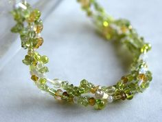 Peridot necklace with citrine and moonstone