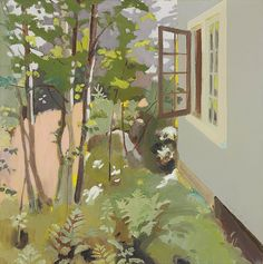 """""""Birch Trees by a Window,"""" Fairfield Porter, 1968, oil on canvas, 36 x 36"""", private collection."""