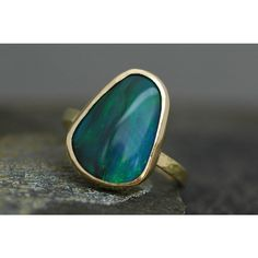 Black Opal in Recycled 18k Yellow Gold Ring- Made to Order ($2,700) ❤ liked on Polyvore featuring jewelry, rings, gold rings, yellow gold jewelry, opal ring, 18k jewelry and gold opal jewelry