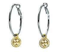 GraceWear jewelry  Rhodium plated Linked Medallion Hoop Earrings