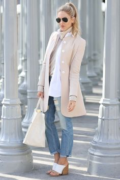 Street style - beige coat by Goat; Rag & Bone jeans; Chloe shoes; off white Anine Bing bag; RayBan sunglasses