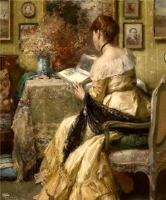 Afternoon Reading by Fernand Toussaint (Belgian, 1873-1956)