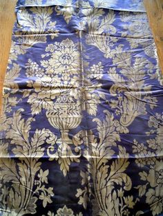 Antique French  19th-century purple  silk   fabric for baroque pillow or boxes