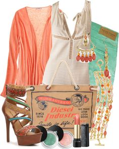 """""""Color on My Jeans ~Mint & Coral~"""" by gangdise on Polyvore"""