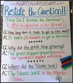 Question Lesson Restating the Question Anchor Chart. Helps students visualize how to put the question in the answer!Restating the Question Anchor Chart. Helps students visualize how to put the question in the answer! 3rd Grade Writing, 6th Grade Ela, Third Grade Reading, Fourth Grade, Grade 3, Second Grade, Guided Reading, Reading Logs, Reading Boards