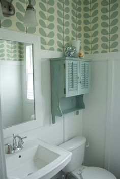 new Orla Kiely wallpaper in powder room Bathroom Wallpaper Funky, Powder Room Wallpaper, Closet Wallpaper, Bathroom Sink Storage, Small Bathroom, Funky Bathroom, Bathroom Organization, Bathroom Ideas, Orla Kiely