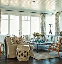 Eclectic Living Room with Deborah Ceramic Garden Stool, Hardwood floors, Chinese Chippendale Armchair, Crown molding