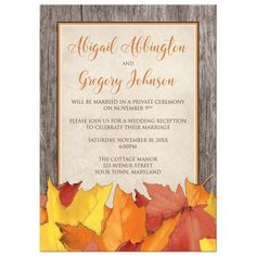 Rustic fall leaves reception only wedding invitation