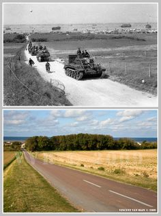 Then and now... A Cromwell tank leads a British Army column from the 4th County of London Yeomanry, 7th Armoured Division, inland from Gold Beach after landing on D-Day in Ver-sur-Mer, June 6, 1944.
