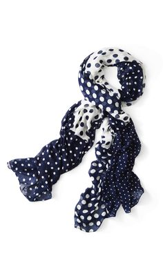 A playful polka dot scarf adds that little something extra to your outfit. Polka Dot Scarf, Polka Dots, Dressing Sense, Head Wraps, Womens Scarves, Travel Style, Navy And White, Color Mixing, Blue Denim