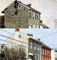A rare late-1863 Gettysburg view that none of us even knew existed sold on ebay recently. This is Swan's Hotel, then & now, This structure that still stands on South Washington Street is one that many battlefield guides point out on tours for the numerous bullet holes in the south side of the building. Today you can clearly see that the brickwork is different where the big holes were.