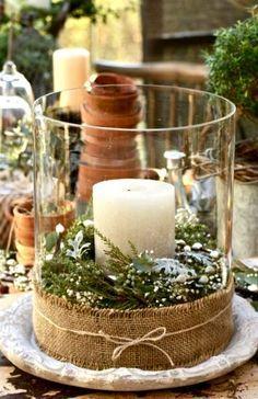 #Christmas clear glass hurricane with pillar candle centerpiece ToniK Տ℮ʈ ìʈ Up table decoration ideas
