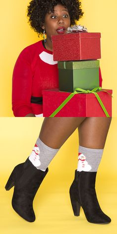 She was blasting holiday tunes in October. The lights, the tree, the decorations? Yep, they're already up. She's The Holiday Fanatic. Give her a sassy bootie that matches her enthusiasm. Gifts Under $50: the Pink & Pepper Pearl Bootie + Memoi Snow Diamond Women's Slipper Socks.