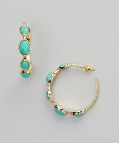 Look what I found on #zulily! Turquoise & Gold Stone Hoop Earrings #zulilyfinds  $7.00