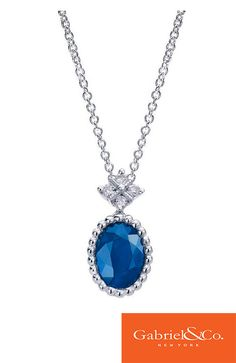 14k White Gold Diamond and Sapphire Necklace by Gabriel & Co.
