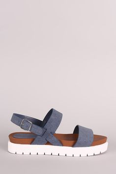 Bamboo Denim Double Band Lug Sole Flatform Sandal – Style Lavish