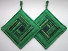 Handmade Green Patchwork Pot Holders, Hot Pads, Set of 2
