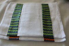 Set of 2 premium cloth diaper burp cloths trimmed with adorable unisex prints