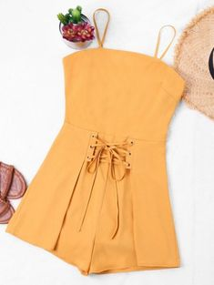 Women Playsuits Spaghetti Strap Lace Up Bowknot Zipper Hollow Out Solid Rompers Casual 2018 Summer Beach Jumpsuits ZAN.STYLE Women Playsuits Spaghetti Strap Lace Up Bowknot Zipper Hollo – cigauy Cute Rompers, Rompers Women, Traje Casual, Yellow Jumpsuit, Beach Jumpsuits, Two Piece Outfit, Lace Tops, Spring Outfits, Cute Outfits