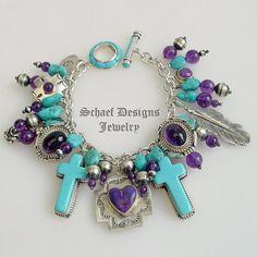 Turquoise Amethyst Schaef Designs Gary G Native American Heart Charm Bracelet | eBay