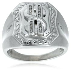 Men's Sterling Silver Diamond Dollar Sign Ring (1/10 cttw) Amazon Curated Collection. $60.00. Made in China