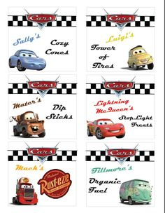 Disney Cars Party Ideas ~ Free Printable Free Printable – Disney Cars Party Food Labels from Colorado Mountain Mom Disney Cars Party, Disney Party Foods, Cars Party Foods, Party Snacks, Donut Party, Pixar Cars Birthday, 2 Birthday, Birthday Ideas, Hedgehog Birthday