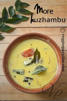 MORE KUZHAMBU | OKRA BUTTERMILK CURRY - This is also one of the most popular Kuzhambu prepared in South India using Buttermilk . The most commonly used vegetable is pumpkin or Lady's finger (vendakkai). Lady Fingers, South India, Okra, Curry Recipes, Curries, Gravy, Cheeseburger Chowder, Yum Yum, Paradise