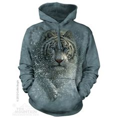 The Mountain Tiger Hoodie Wet N Wild, Tiger Hoodie, Wolf Hoodie, Tiger Design, Hipster, 3d T Shirts, 3d Prints, Cat Lover, White Hoodie