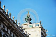 Architectural detail of the tower clock in St. Mark's Square, in Venice, Italy.