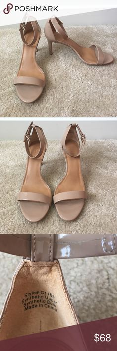 J CREW PATENT HIGH HEEL SANDAL J crew factory patent high heel sandal are the perfect nude colored heels! Almost perfect condition. Heel measures 3 inches. Love these shoes but the toe strap is a little too wide for my feet,  & I wasn't able to return them in time. J. Crew Shoes Heels