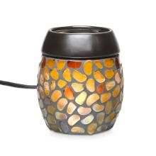 Aurora Mosaic ScentGlow Warmer. Glistening glass pebbles shimmer with a captivating, iridescent glow. Electric warming plate diffuses the fragrance of Scent Plus Melts  $36