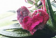 A Pink Textile Heart Made with LOVE by Linandara on Etsy